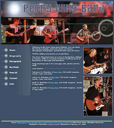 Perry Wing Band Website design